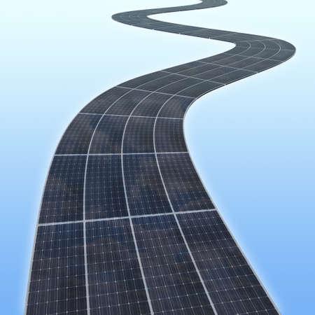 solar panes highway 3d illustration illustration