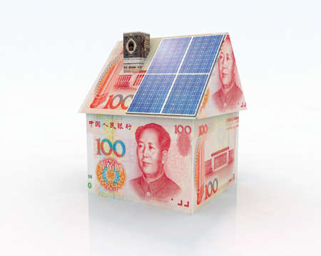 china money home with solar panel concept financing photo