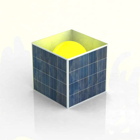 a box made of photovoltaic panels with the sun inside photo