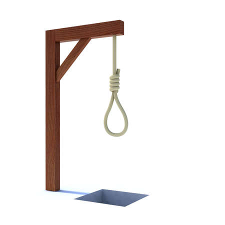man in jail: noose hanging from a gallows 3d illustration
