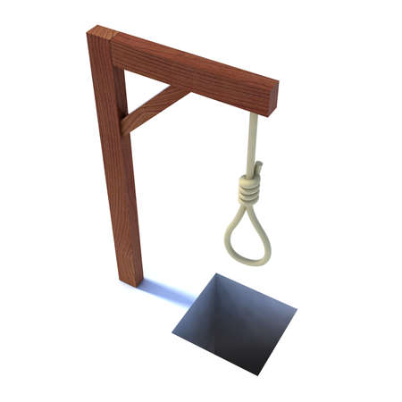 torment: noose hanging from a gallows 3d illustration