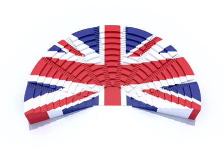 election commission: 3d united kingdom parliament with flag colors
