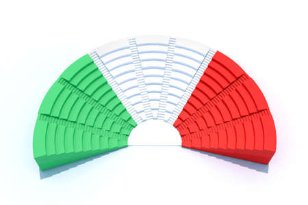 3d parliament with italian flag colors