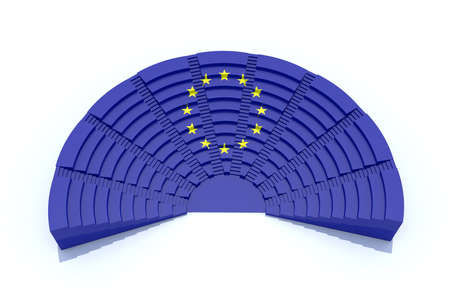 european parliament: 3d concept european parliament with europ flag color