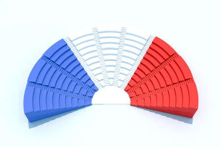 フランスの国旗の色で 3 d 議会