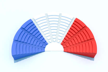 3d parliament with french flag colors
