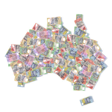 abundance money: australia map with bank notes 3d illustration