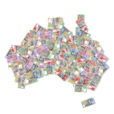 remuneraciones: Australia mapa con billetes de banco ilustración 3d Foto de archivo
