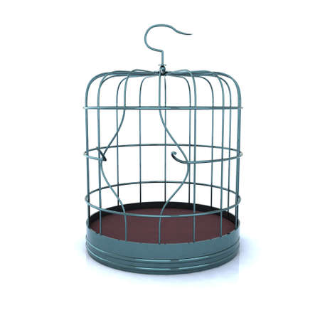 prison break: broken bird cage, the concept of escape Stock Photo