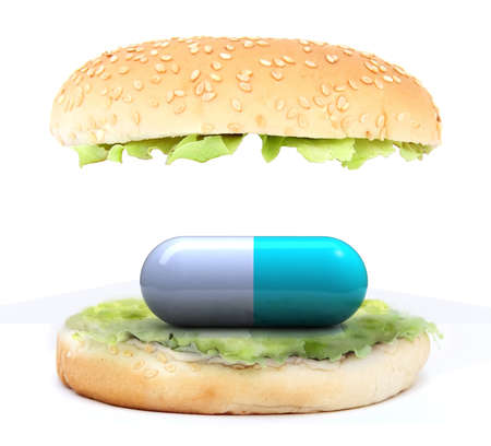 colored pill in the sandwich, food chemist concept, 3d illustration illustration