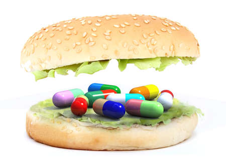 colored pills in the sandwich, food chemist concept, 3d illustration illustration