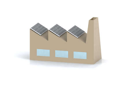 factory with solar panels  photo