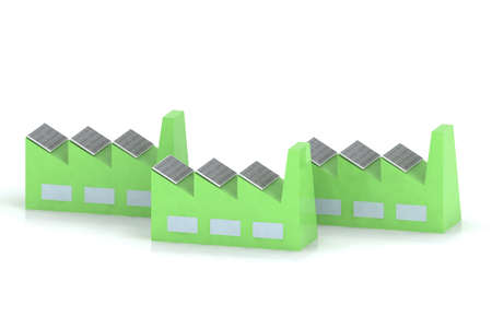 green factory with solar panels photo