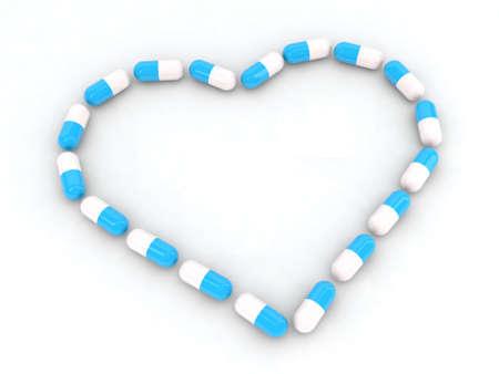 buena salud: corazón hecho con la ilustración de las píldoras 3d Foto de archivo