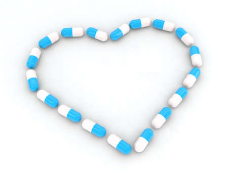 heart made with pills 3d illustration Stock Illustration - 11087440
