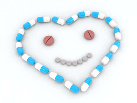 heart and face made with pills 3d illustration Stock Illustration - 11087441