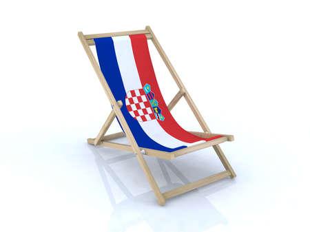 bandera de croacia: madera sillón de playa con bandera croata 3d ilustración Foto de archivo