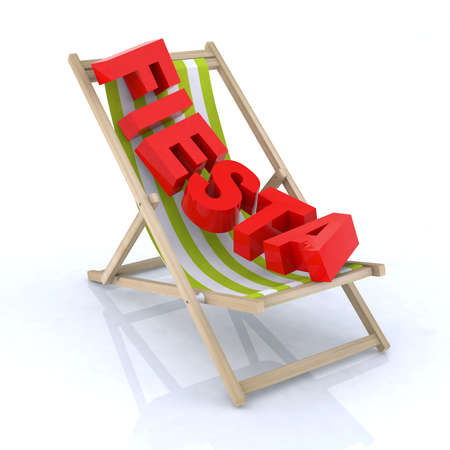 beach side: beach chair with fiesta written 3d illustration Stock Photo