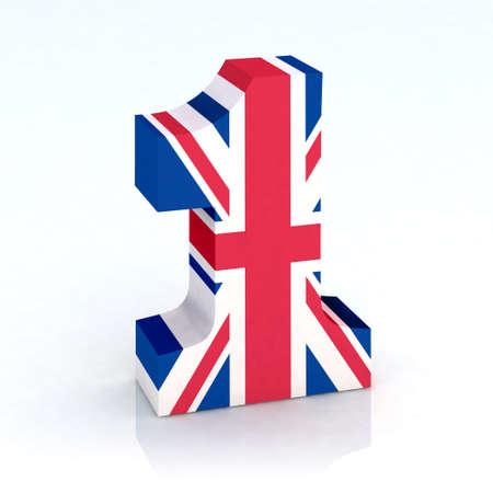 numero uno: el número uno con la bandera de la ilustración 3d Inglés