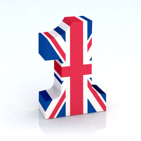 english letters: number one with english flag 3d illustration