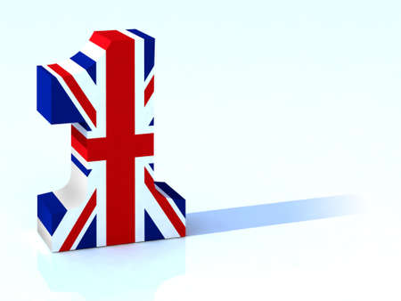 one colour: 3d number one with english flag