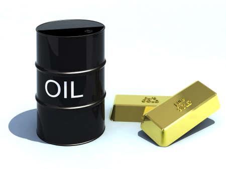 international money: barrel oil like gold bullion Stock Photo