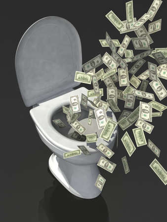 throwing paper: dollar banknote in the toilet