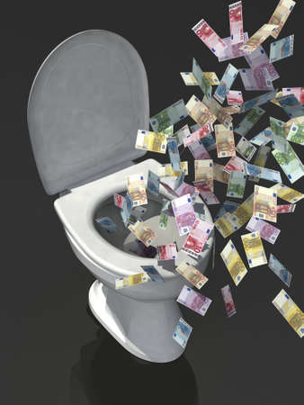 throw away: euro banknote in the toilet