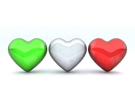 three hearts colored like the Italian flag photo