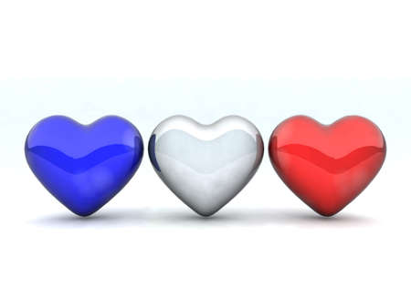 three colored hearts as the French flag photo