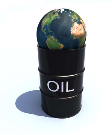 barrel oil with 3d world over photo