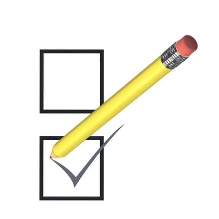 voting concept with yellow pencil,  3d illustration illustration