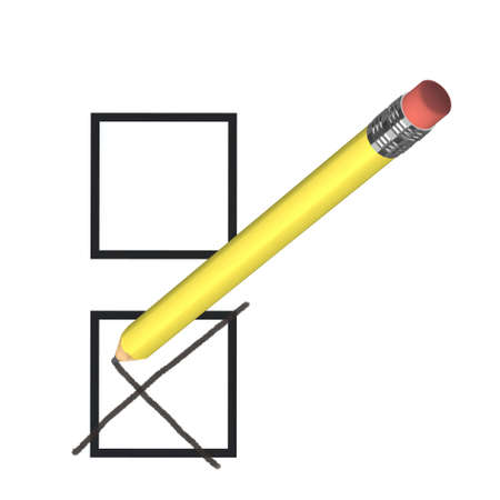 opinion poll: voting concept with yellow pencil,  3d illustration Stock Photo