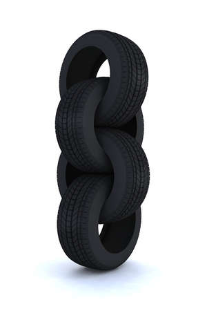 tires linked like a chain 3d illustration illustration