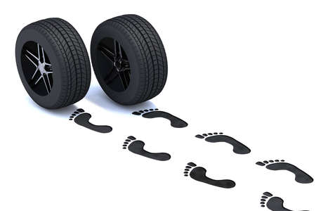footsteps walking with tires, 3d illustration illustration