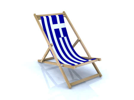 greece flag: wood beach chair with Greek flag 3d illustration