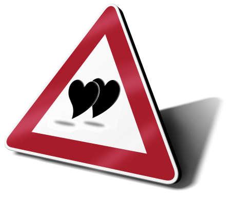 warning triangle: traffic sign love in progress 3d illustration