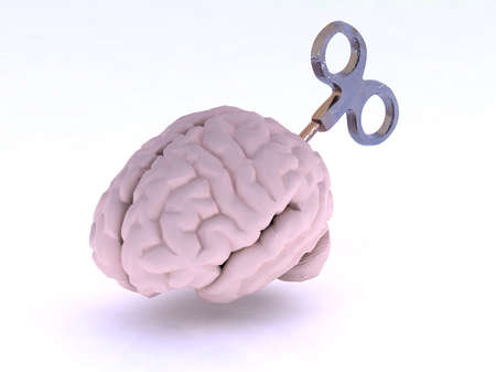 human brain with key, energy charge concept, 3d illustration illustration