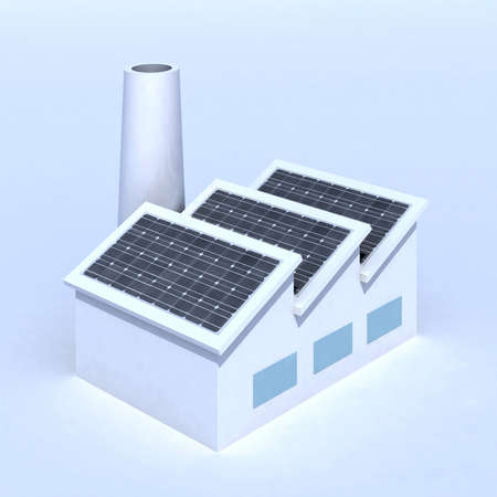 Factory with solar panels 3d illustration Stock Illustration - 14315073