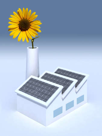 factory with solar panels and a sunflower in the chimney, 3d illustration illustration