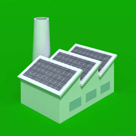 Factory with solar panels on green background, 3d illustration illustration