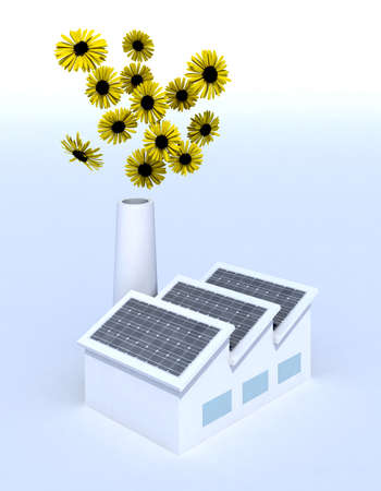 factory with solar panels and and flowers coming out of the chimney, 3d illustration illustration