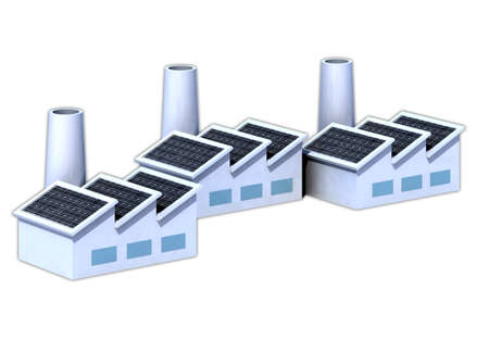 Three factorys with solar panels 3d illustration illustration