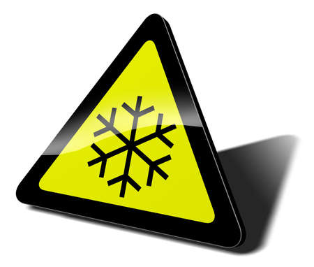 winter car: traffic sign snow danger 3d illustration Stock Photo