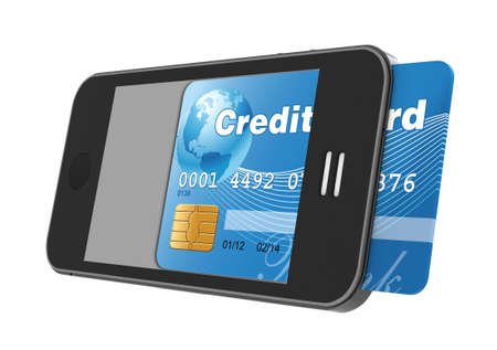 smart card: smartphone with credit card, concept digital payment, 3d illustration