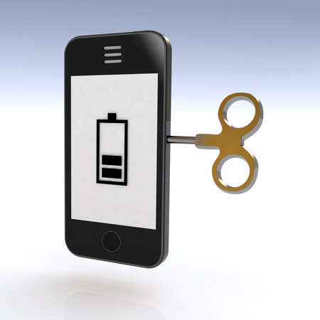 smartphone charged with a key, 3d illustration illustration