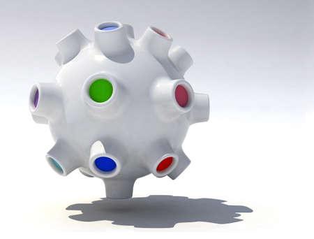 fantastic three-dimensional object, like a planet, a virus, a UFO Stock Photo - 14315019