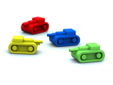 risiko: four tanks toy on white background, 3d illustration