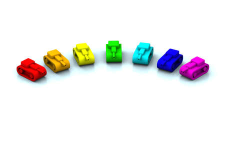 risiko: toy tanks colorful as rainbow on a white background