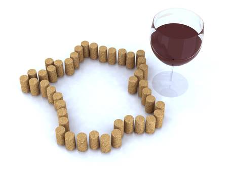 bung: France map with cork and glass of red wine 3d illustration Stock Photo